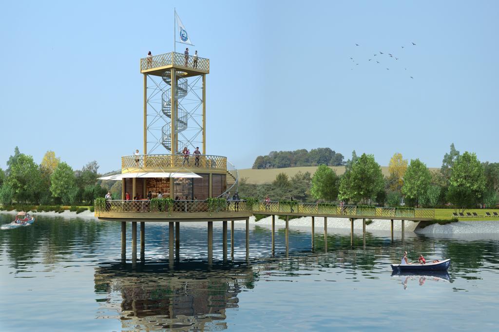 Štěrkovna - lávka na ostrov s rozhlednou